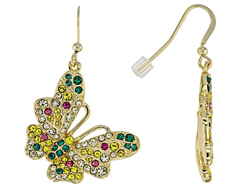 Photo of Off Park® Collection Round Multicolor Crystal Gold Tone Butterfly Dangle Earrings