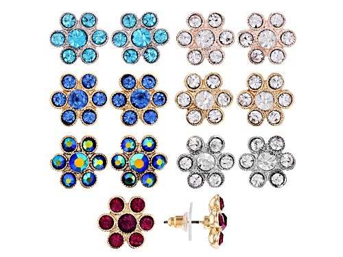 Photo of Off Park ® Collection, Multicolor Crystal Tri-Color Flower Stud Earrings Set Of 7