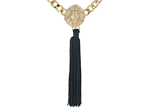 Photo of Off Park ® Collection White Crystal Gold Tone Lion Face Tassel Statement Necklace