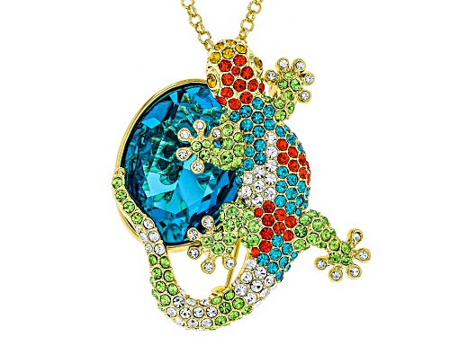 Photo of Off Park ® Collection, Round Multicolor Crystal, Shiny Gold Tone Lizard Pin/Pendant With Chain
