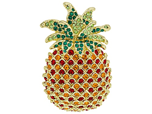 Photo of Off Park ® Collection, Round Multicolor Crystal Shiny Gold Tone Pineapple Brooch