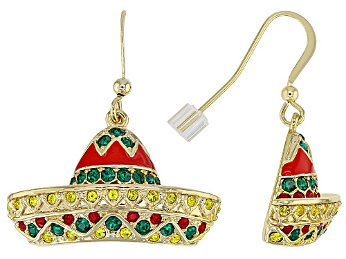 Photo of Off Park ® Collection, Multicolor Crystal Shiny Gold Tone Sombrero Earrings