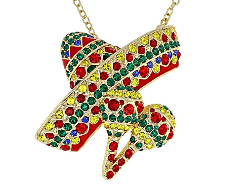 Photo of Off Park ® Collection, Multicolor Crystal Shiny Gold Tone Sombrero Pin And Pendant With Chain