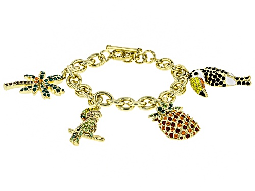 Photo of Off Park ® Collection, Multicolor Crystal Gold Tone Parrot, Pineapple, Palm Tree Charm Bracelet