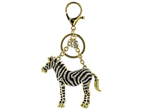 Photo of Off Park ® Collection, Multicolor Crystal Back Enamel Gold Tone Zebra Keychain