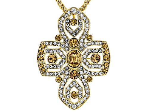 Photo of Off Park ® Collection White and Champagne Crystal Gold Tone Cross Pin/Pendant With Chain