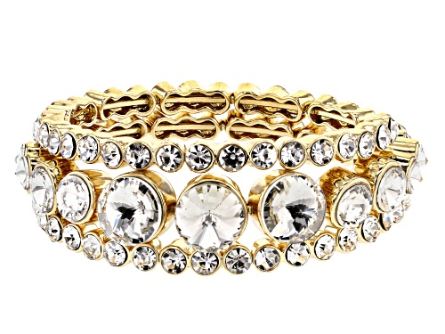 Photo of Off Park ® Collection White Crystal Gold Tone Coil Adjustable Bracelet