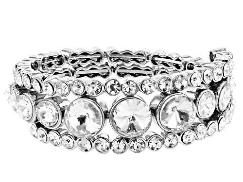 Photo of Off Park ® Collection White Crystal Silver Tone Coil Adjustable Bracelet