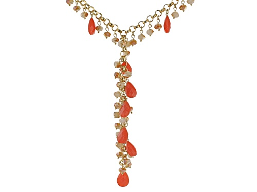 Photo of Off Park ® Collection, Coral Color Crystal,  Champagne Color Beads, Gold tone Y Necklace