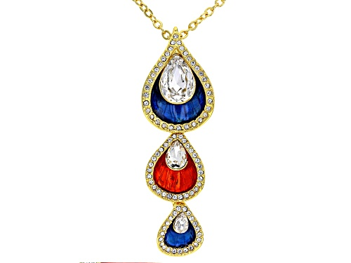 Photo of Off Park ® Collection, White Crystal Shiny Gold Tone Pear Drop Necklace