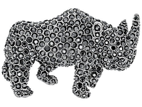 Photo of Off Park ® Collection, Round Black Crystal Silver Tone Rhino Brooch