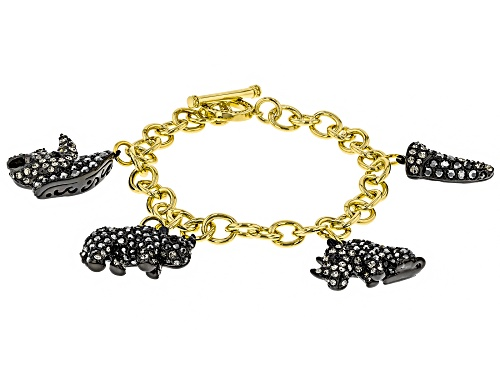 Photo of Off Park ® Collection, Round Multi-color Crystal, Gold Tone Rhino Charm Bracelet
