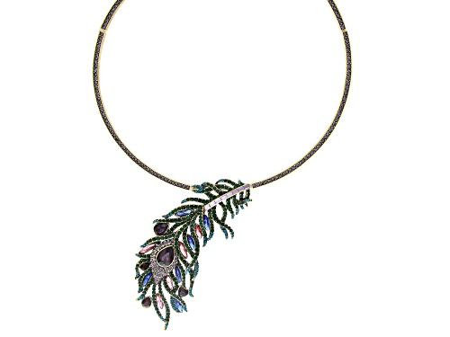 Photo of Off Park ® Collection Multi-color Crystal Antiqued Gold Tone Feather Collar Necklace
