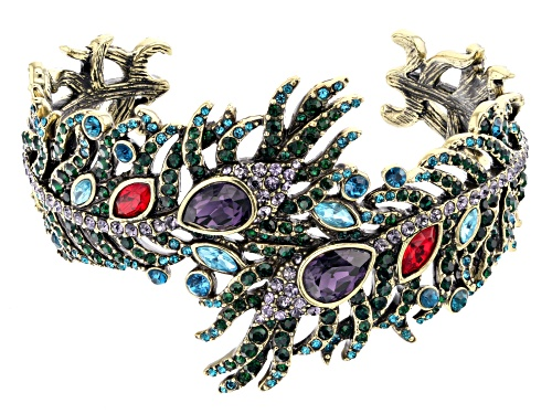 Photo of Off Park ® Collection Multi-color Crystal Antiqued Gold Tone Feather Cuff Bracelet
