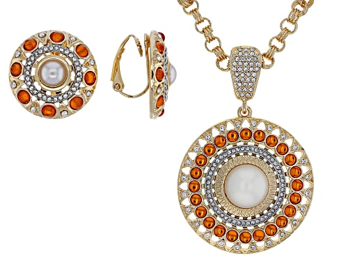 Photo of Off Park Collection® White Crystal With Pearl Simulant, Orange Bead Gold Tone Enhancer & Earrings