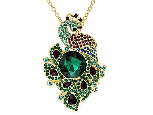 Photo of Off Park ® Collection, Multi-color Crystal Shiny Gold Tone Peacock Pendant/Pin With Chain