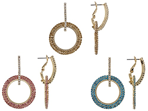 Photo of Off Park ® Collection Multi-color Crystal Gold Tone Set of 3 Dangle Earrings