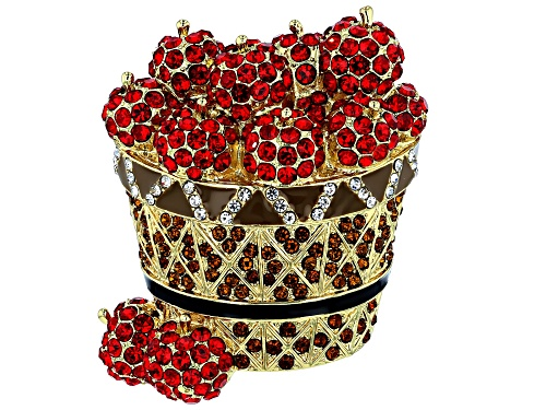 Photo of Off Park ® Collection, Red Crystal, Black & Brown Enamel Shiny Gold Tone Apple Basket Brooch