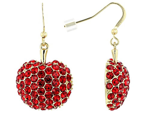 Photo of Off Park ® Collection, Round Red Crystal Shiny Gold Tone Apple Dangle Earrings