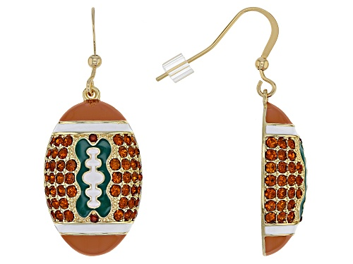 Photo of Off Park ® Collection, Brown Crystal With Green, White and Brown Enamel Gold Tone Football Earrings