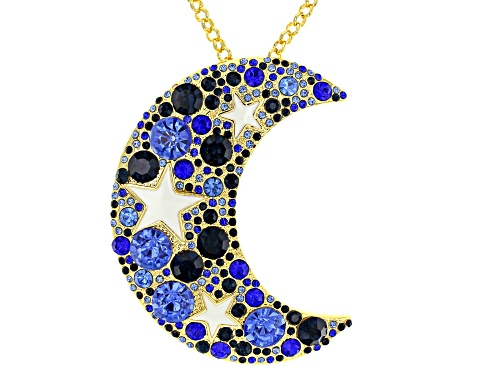 Photo of Off Park ® Collection, Multi-color Crystal Gold Tone Moon & Star Pendant With Chain