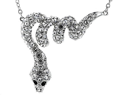 Photo of Off Park ® Collection, Round White & Black Crystal Silver Tone Snake Necklace