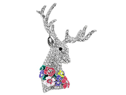 Photo of Off Park ® Collection, Round White & Black Crystal Multi-color Enamel Silver Tone Deer Brooch