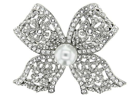 Photo of Off Park ® Collection, Round White Swarovski Elements™ With  Pearl Simulant Silver Tone Bow Brooch