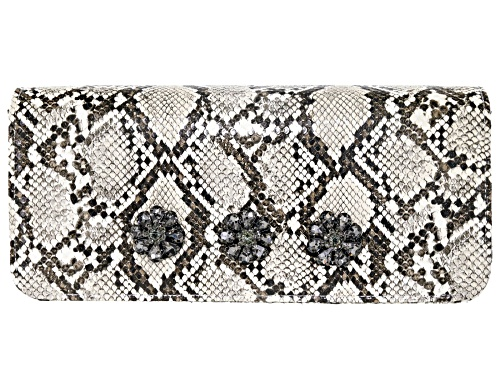 Photo of Off Park Collection ™ Gray Faux Snakeskin Clutch With  Gunmetal Crystal Floral Design