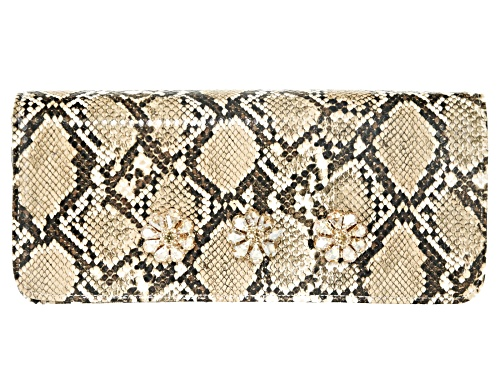 Photo of Off Park Collection ™ Tan Faux Snakeskin Clutch With Champagne Crystal Floral Design