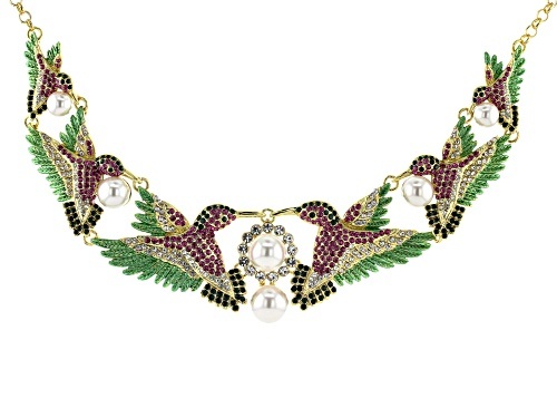 Photo of Off Park ® Collection, Multi-color Crystal With White Pearl Simulant  Gold Tone Hummingbird Necklace