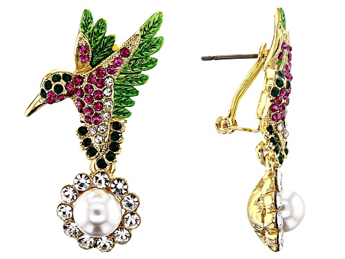 Photo of Off Park ® Collection, Multi-color Crystal With White Pearl Simulant  Gold Tone Hummingbird Earrings