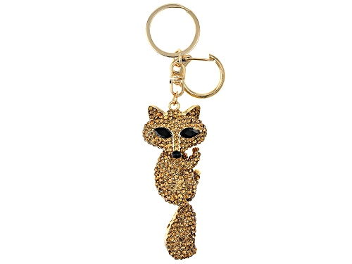 Photo of Off Park ® Collection, Round Gold Crystal With Marquise Black Crystal, Gold Tone Fox Keychain