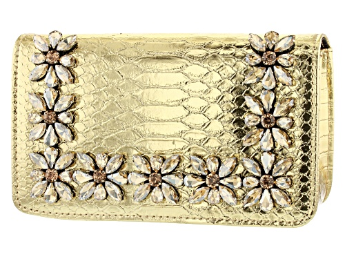 Photo of Off Park Collection ™ Gold Tone Faux Snakeskin Clutch With Champagne Crystal Floral Design