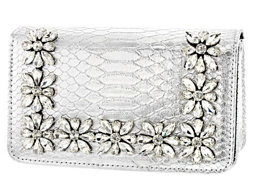 Photo of Off Park Collection ™ Silver Tone Faux Snakeskin Clutch With White Crystal Floral Design