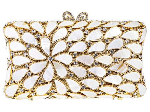 Photo of Off Park  ® Collection, Mother Of Pearl Simulant With White Crystal Gold Tone Clutch