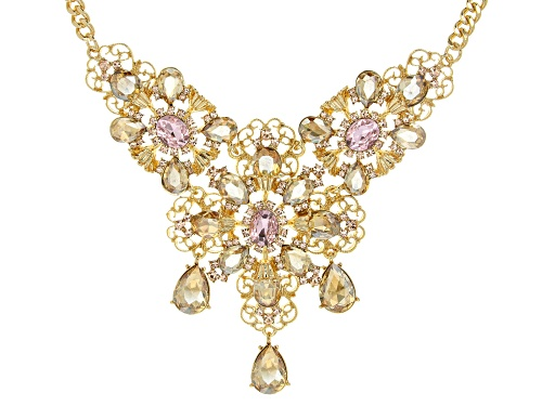 Photo of Off Park ® Collection, Mixed Shape Pink and Champagne Crystal Gold Tone Floral Necklace