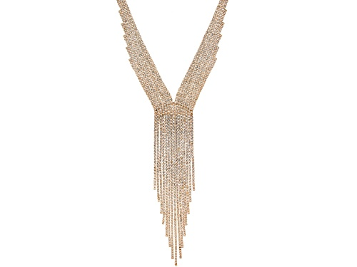 Photo of Off Park ® Collection, Round White Crystal Gold Tone Graduated Fringe Necklace