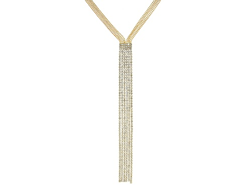Off Park ® Collection, Round White Crystal, Gold Tone Fringe Necklace