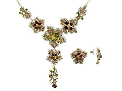 Photo of Off Park ® Collection, Multi-color Crystal Gold Tone Floral Necklace & Earring Set