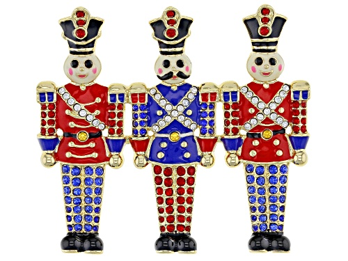 Photo of Off Park ® Collection, Round Multi-color Crystal Gold Tone Toy Soldier Brooch
