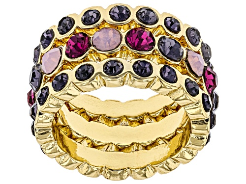 Photo of Off Park ® Collection, Round Multi-Color Crystal Gold Tone 3- Band Ring - Size 8