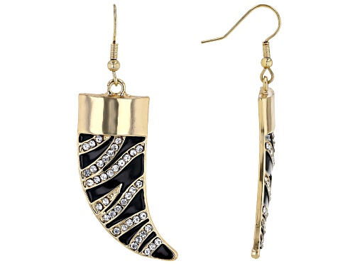 "Photo of Off Park ® Collection, White Crystal With Black Enamel Gold Tone ""Zebra Print"" Horn Dangle Earrings"