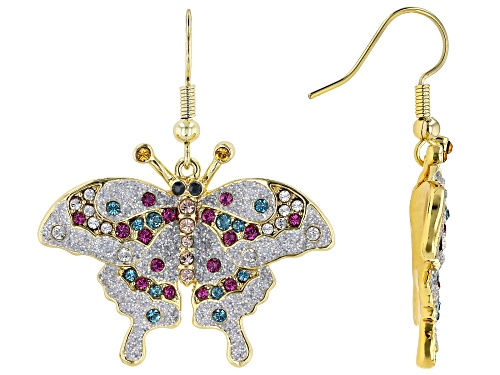 Photo of Off Park ® Collection, Multi-color Swarovski Elements ™  Shiny Gold Tone Butterfly Earrings