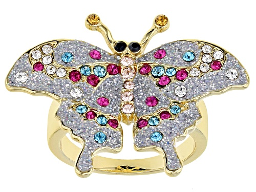 Photo of Off Park ® Collection, Multi-color Swarovski Elements ™ Shiny Gold Tone Butterfly Ring - Size 8