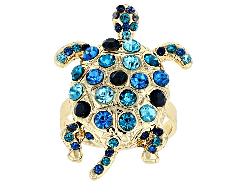 Photo of Off Park ® Collection, Multi-color Crystal Gold Tone Turtle Ring - Size 8