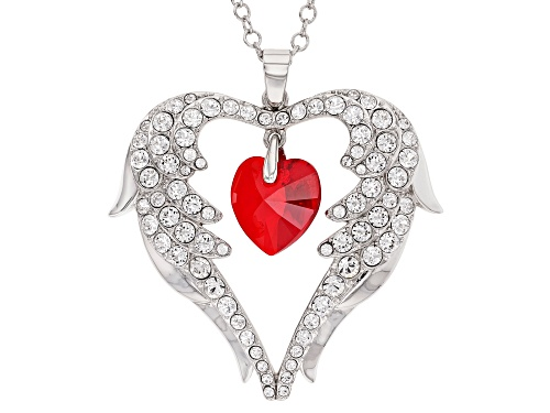Photo of Off Park ® Collection, Red Swarovski Elements ™ Silver Tone Heart Pendant W/ Chain