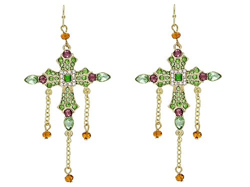 Photo of Off Park ® Collection, Multi-color Crystal Gold Tone Cross Earrings