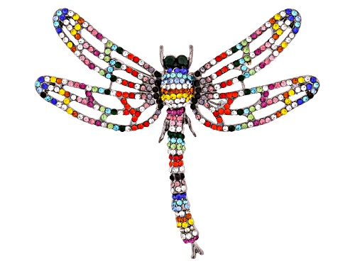 Photo of Off Park ® Collection, Multi-Color Crystal Gun Metal Tone Dragonfly Brooch