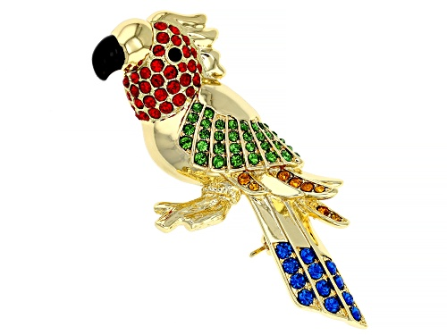Photo of Off Park ® Collection,  Multi-color Swarovski Elements ™ Shiny Gold Tone Bird Brooch